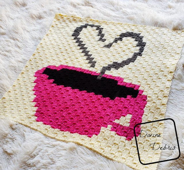 Heart and Cup C2C Afghan Square free crochet pattern by DivineDebris.com