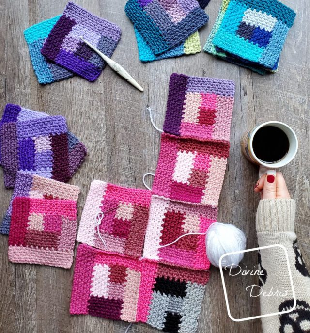 Learn how to make the Linen Log Cabin Square from a free crochet pattern by DivineDebris.com