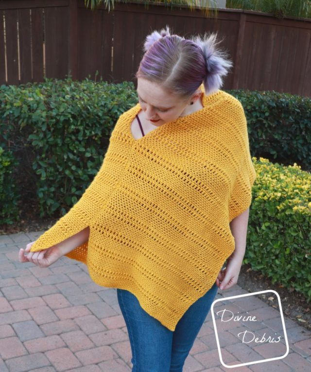 Learn to make the Whitney Poncho from a free crochet pattern by DivineDebris.com