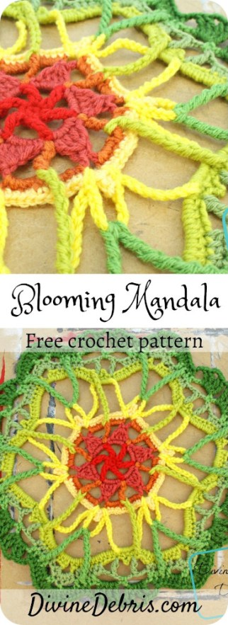 Learn how to make the beautiful and simple Blooming Mandala, an easy home decor item, from a easy and free crochet pattern by DivineDebris.com#crochet #freepattern #mandala