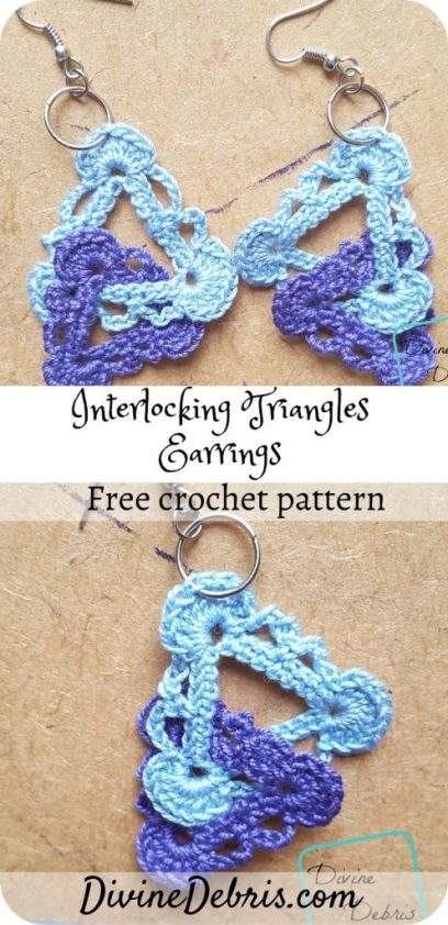 Make a quick gift, a treat for yourself, or get creative when you learn to make the Interlocking Triangles Earrings free crochet pattern on DivineDebris.com #crochet #freepattern #earrings #jewelry