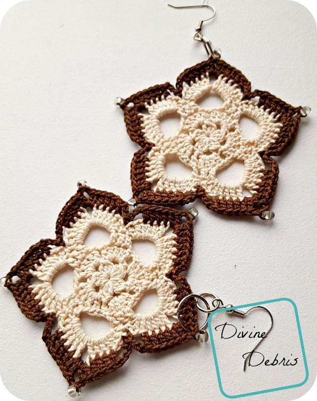 Learn how to make the cute, bohemian, and easy to customize Mini Mandala Earrings from a free crochet pattern by DivineDebris.com