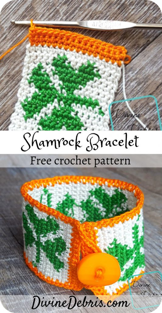 You won't get pinched on St. Patrick's Day when you learn to make this fun tapestry crochet Shamrock Bracelet from a free pattern on DivineDebris.com#crochet #freepattern #bracelets #jewelry #StPatricksDay