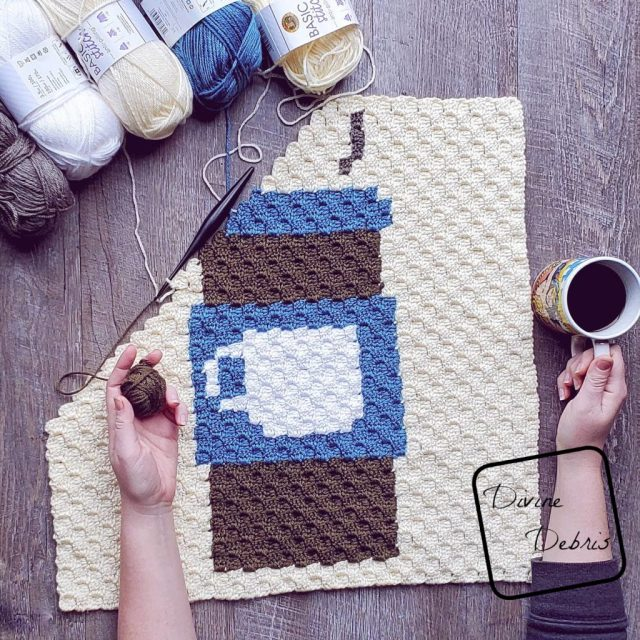 Learn to make the Travel Mug C2C Afghan Square, and learn about the 2020 C2C Coffee CAL, from a free pattern on DivineDebris.com
