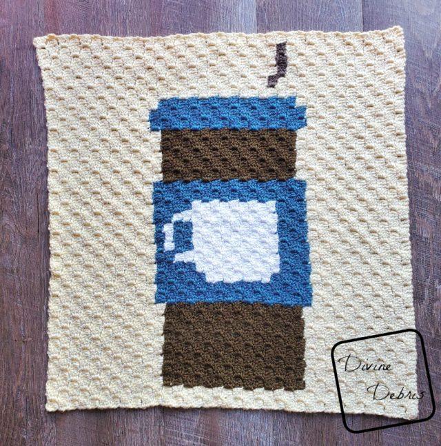 Travel Mug C2C Afghan Square free crochet pattern by DivineDebris.com