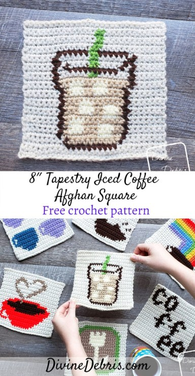 Show off your love of coffee with this fun and free 8″ Tapestry Iced Coffee Afghan Square free crochet pattern by DivineDebris.com#crochet #freepattern #tapestry #afghansquare #coffee #worstedweight