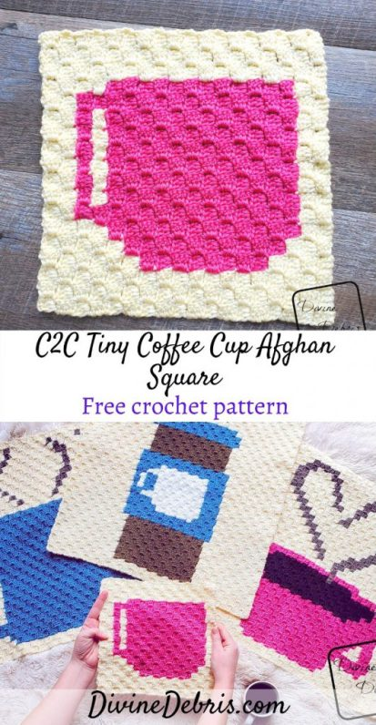 Learn to make the Tiny Coffee C2C Afghan Square, and learn about the 2020 C2C Coffee CAL, from a free pattern on DivineDebris.com#c2c #corner2corner #crochet #freepattern