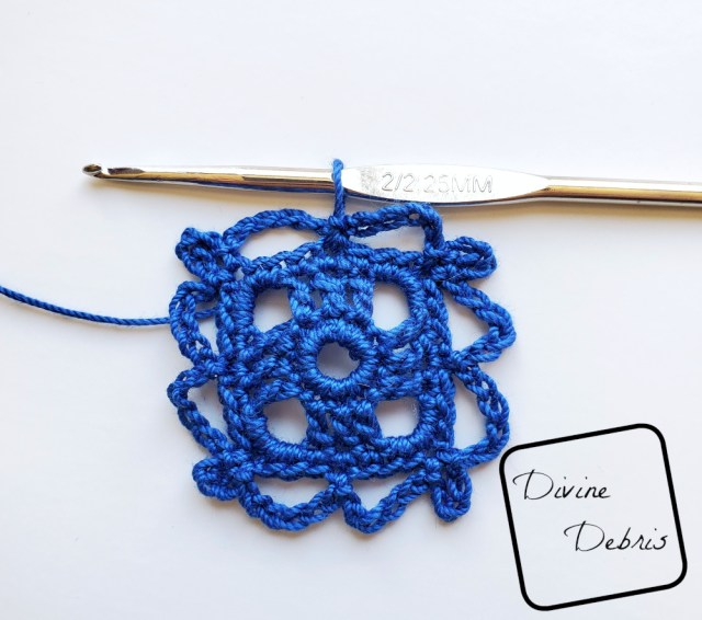 Courtney Earrings crochet pattern photo tutorial: Rnd 5