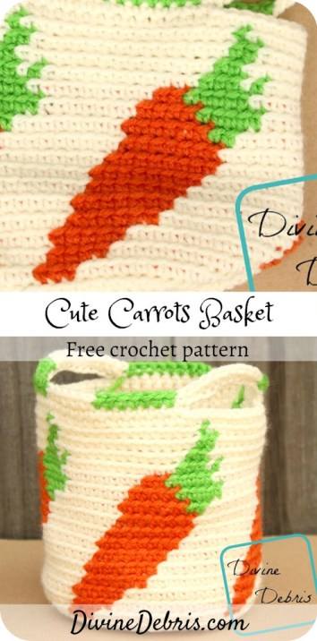 Learn to make the Cute Carrots Crochet Basket, a fun and easy tapestry crochet basket featuring repeated carrots, from a free pattern on DivineDebris.com#crochet #freepattern #baskets #tapestry