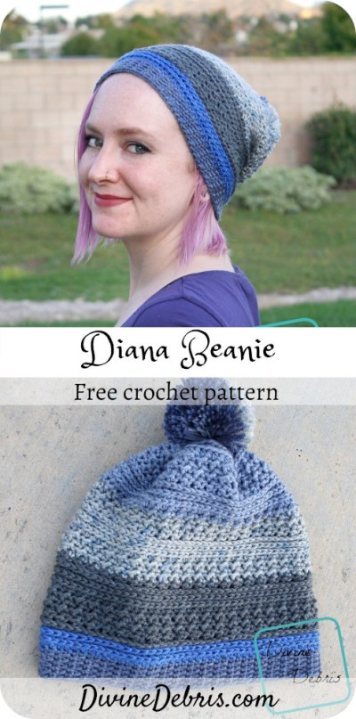 Learn to make the Diana Beanie from a free crochet pattern on DivineDebris.com#crochet #freepattern #beanie #dkweight #pompom #textured