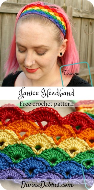 Learn to make a easy and fun crochet headband using size 10 crochet thread, the Janice Headband, from free crochet pattern on DivineDebris.com#crochet #freepattern #crochetthread #headbands #rainbows
