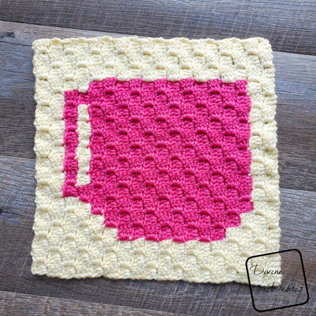 Tiny Coffee C2C Afghan Square free crochet pattern by DivineDebris.com