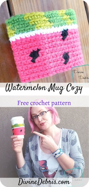 Learn to make the Watermelon Mug Cozy, a fun tapestry and color work design, from a free crochet pattern by DivineDebris.com