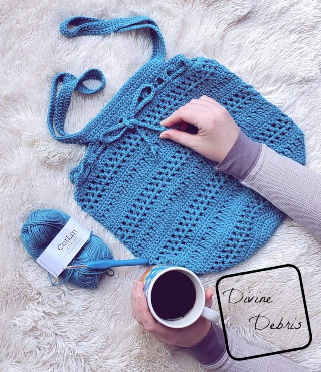 Learn to make the Stephanie Market Bag free crochet pattern by DivineDebris.com