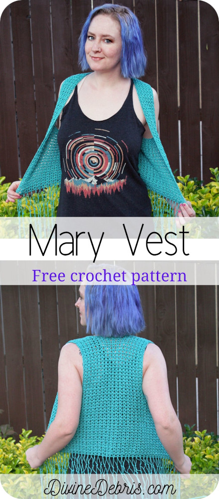 Looking for a fun vest to layer over tank tops for those warm summer months? Be fashionable with the Mary Vest from a free crochet pattern by Divine Debris