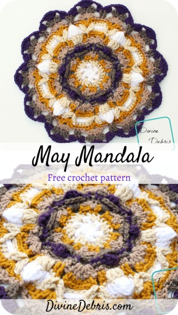 Learn to make the May Mandala, a textured, exciting, and easy, not to mention free, crochet pattern available on DivineDebris.com.