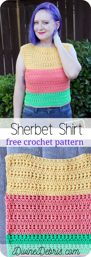 Learn to make the Sherbet Shirt free crochet pattern on DivineDebris.com