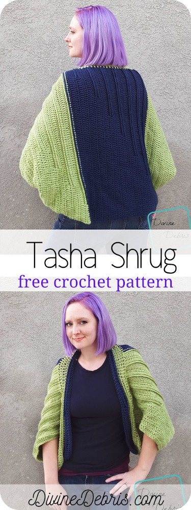 Learn to make Tasha Traditional Shrug, a free and easy crochet shrug pattern full of texture, from a free crochet pattern by DivineDebris.com