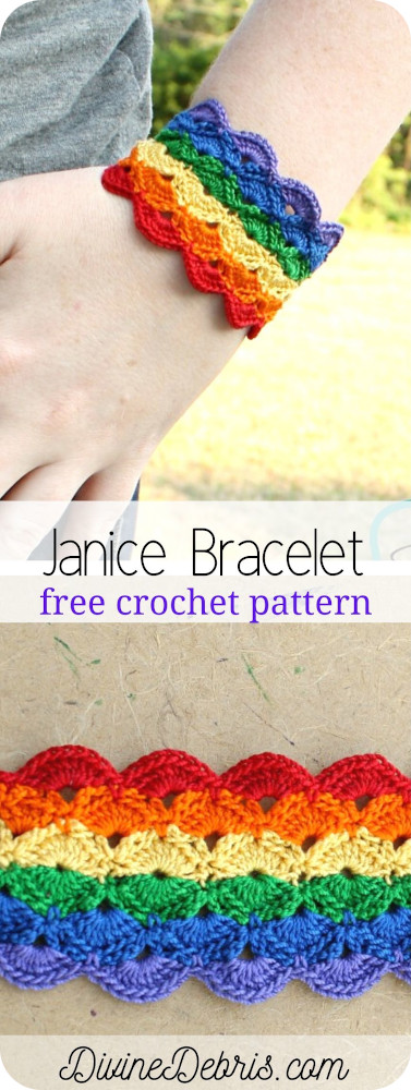 Learn to make the fun, eye-catching, and surprisingly easy Janice Bracelet from a free crochet pattern on DivnieDebris.com
