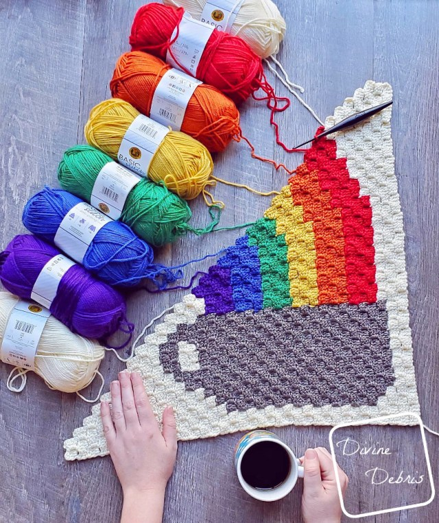 Rainbow and Coffee Cup C2C Afghan Square free crochet pattern by DivineDebris.com