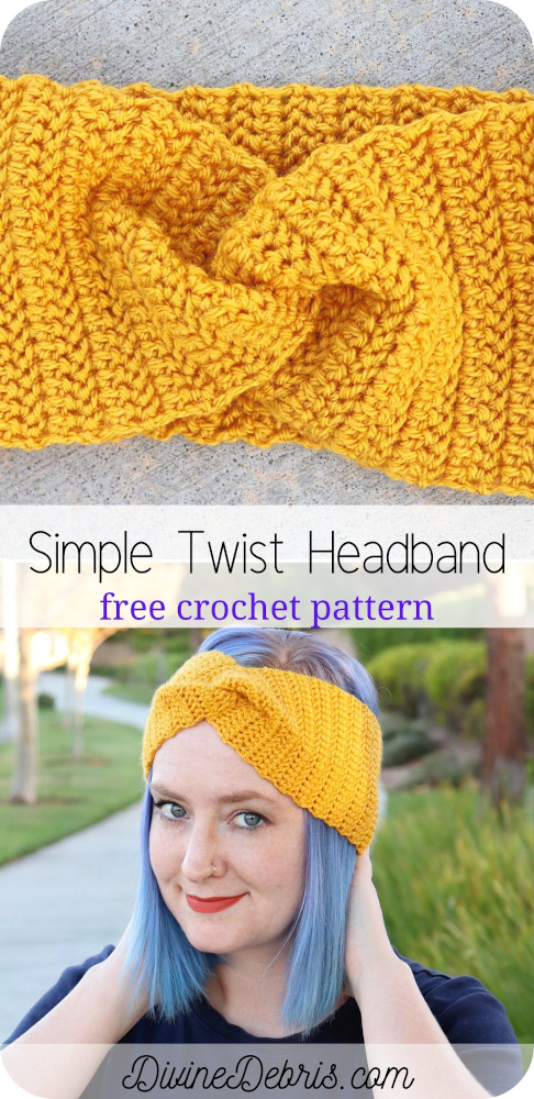 A herringbone half double crochet will be your best friend in this easy, yet classic, free Simple Twist crochet headband pattern.