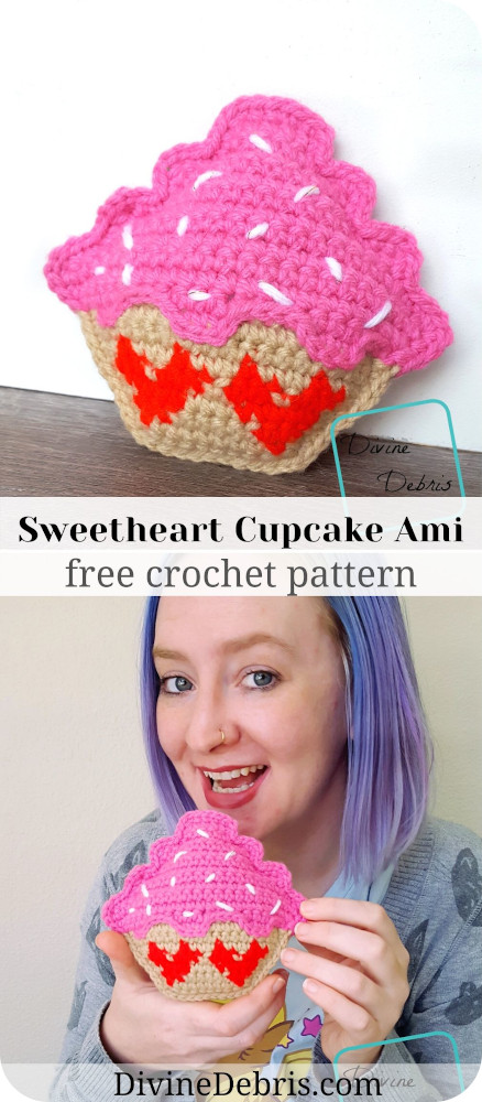 Learn to make a fun and silly Valentine's Day inspired crochet cupcake amigurumi, the Sweetheart Cupcake Ami, from a free pattern on DivineDebris.com