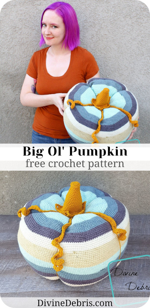 Learn to make the best Fall-o-ween decoration you could have, the Big Ol' Pumpkin from free crochet pattern by DivineDebris.com