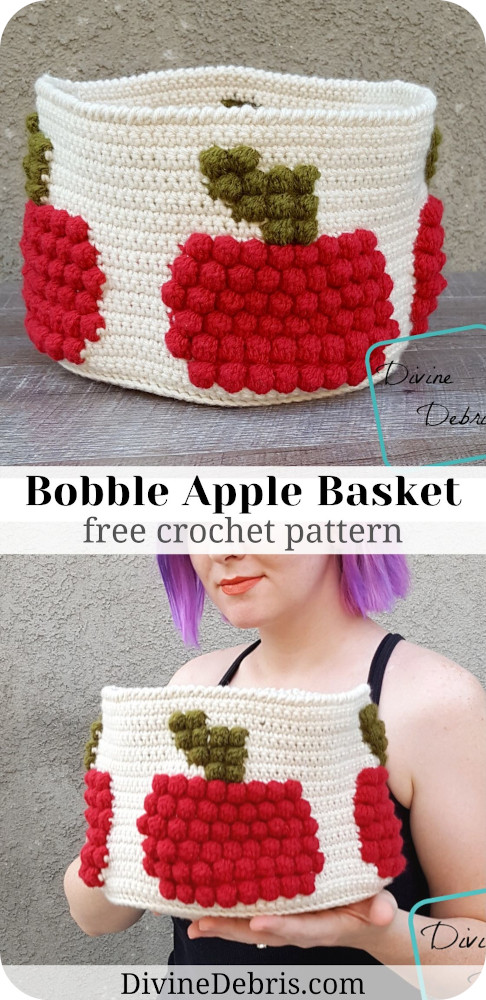 Learn to make this fun Fall basket design that combines bobbles and colorwork, Bobble Apple Basket from free crochet pattern by DivineDebris.com