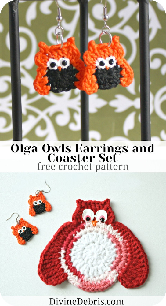 Make the fun fall themed Olga Owls - a perfectly not scary pair of earrings and a fun home decor coaster from a free crochet pattern by DivineDebris.com
