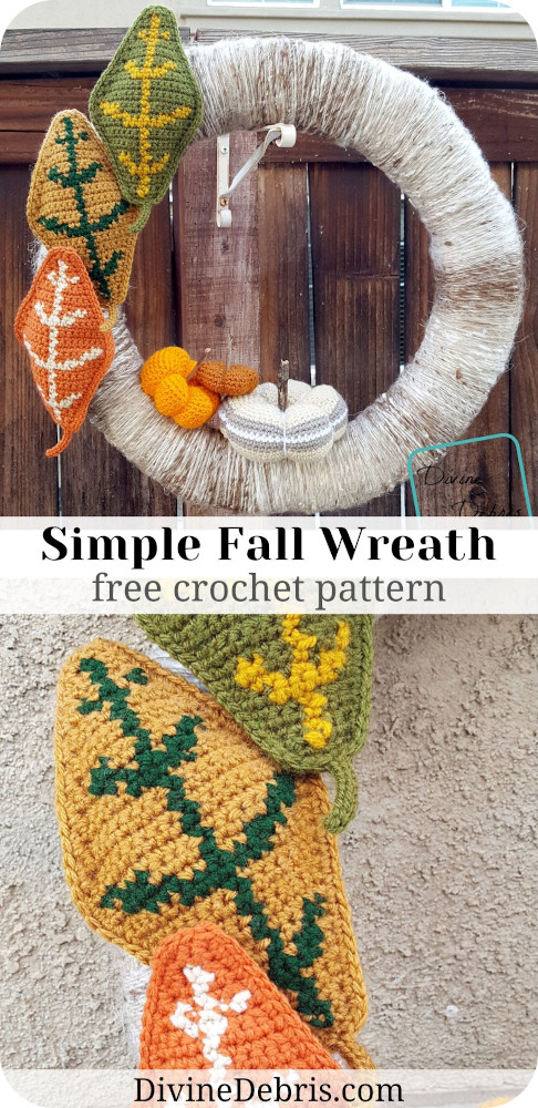 Learn to make a fun, easy, and so customizable fall home decoration, the Simple Fall Wreath, from a free crochet pattern on DivineDebris.com