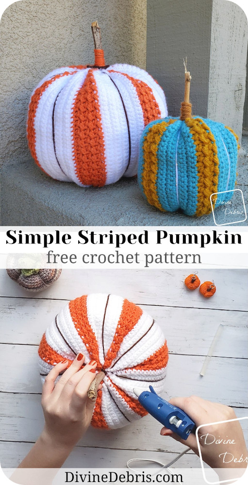 Make Fall and Halloween your best season with this Simple Striped Pumpkin Amigurumi crochet pattern, free on DivineDebris.com