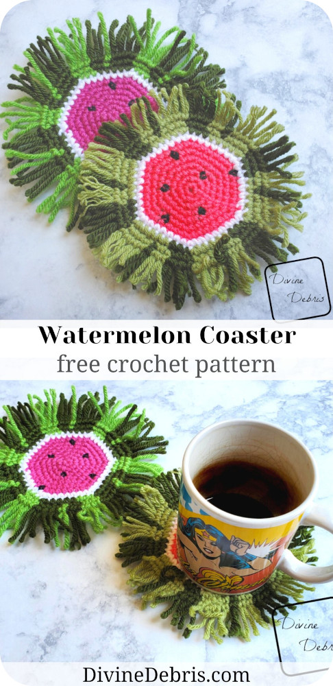 Update your Summer home decor with this fun and stash-busting free crochet pattern, the Watermelon Coaster with fringe, by DivineDebris.com