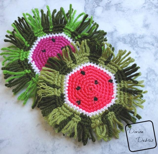 Watermelon Coaster free crochet pattern by DivineDebris.com