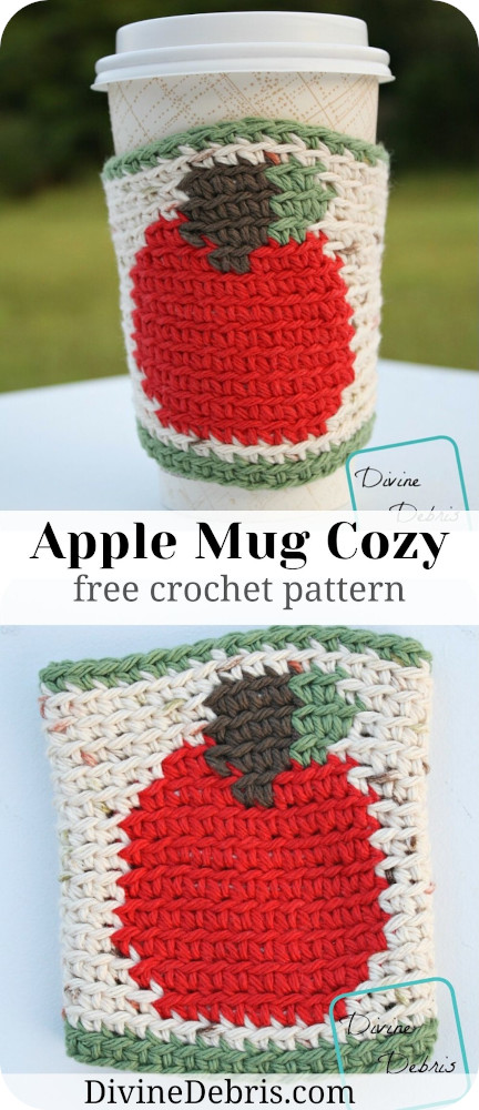 Learn to make a fun and cute Fall coffee companion, the Apple Mug Cozy from a free crochet pattern by DivineDebris.com