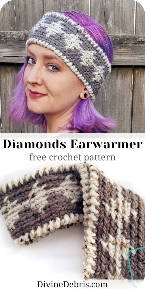 Learn to make the Diamonds Earwarmer, a free and fun tapestry headand/earwarmer crochet pattern by DivineDebris.com