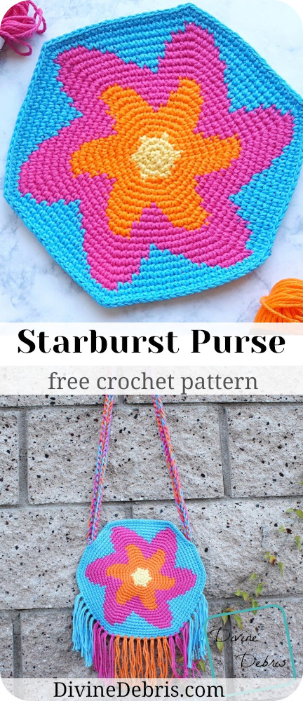 Go out with confidence with this fun, eye-catching, and deceptively simple bag, the Starburst Purse, a free crochet pattern by Divine Debris