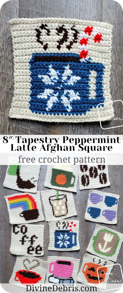 December's coffee square is perfectly minter! It's the Peppermint Latte Afghan Square, giving you all the wonderful things about winter