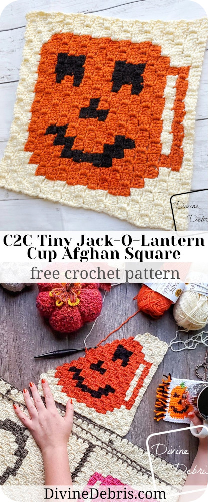 Learn to make the C2C Tiny Jack-O-Lantern Cup Afghan Square from a free graph on DivineDebris.com. Part of a year-long coffee CAL.