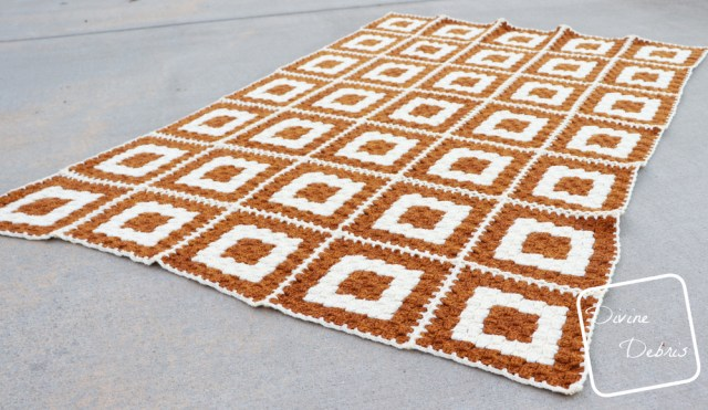 Concentric Squares Throw free C2C crochet pattern by DivineDebris.com
