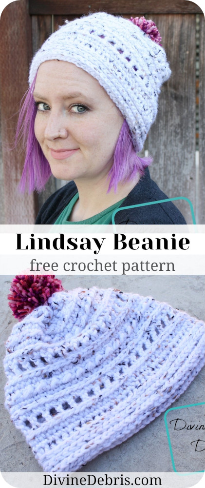 Make your winter wonderful and cozy with this easy Lindsay Beanie free crochet pattern by DivineDebris.com. It's quick to make and simple to customize!