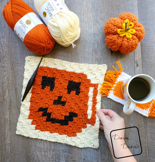 C2C Tiny Jack-O-Lantern Cup Afghan Square free crochet pattern by DivineDebris.com