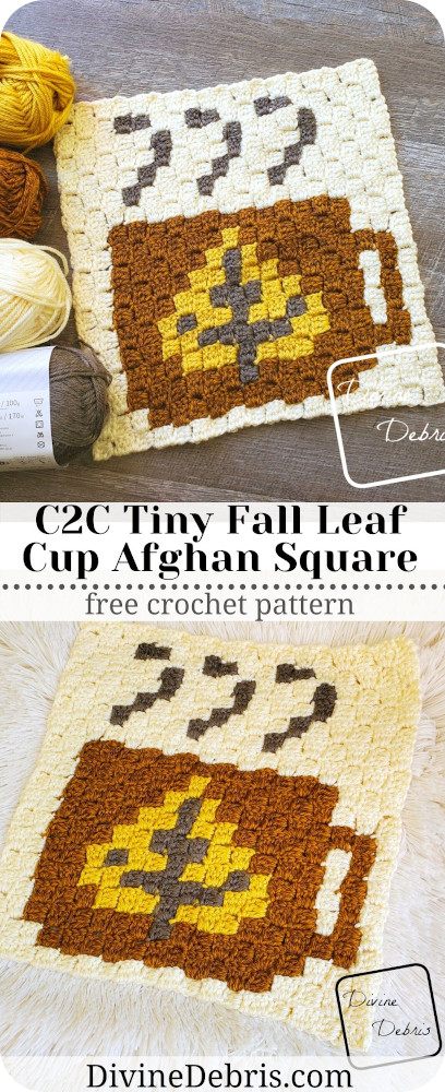 Learn to make the C2C Tiny Fall Leaf Cup Afghan Square from a free crochet graph pattern on DivineDebris.com