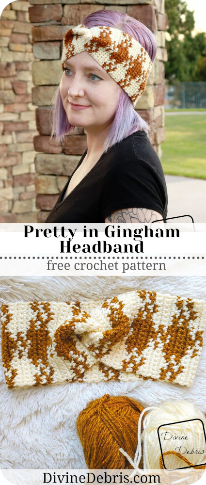 Learn to make this fun and interesting tapestry crochet design, the Pretty in Gingham Headband, a free crochet pattern on DivineDebris.com