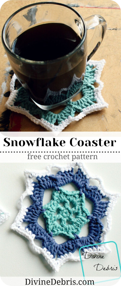 Learn to make the Snowflake Coasters, which work well as both coasters or snowflake appliques, from a free crochet pattern on DivineDebris.com