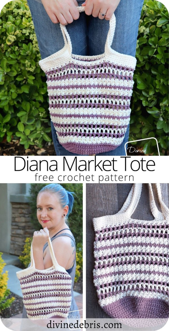 Learn to make the fun, easy, and super useful Diana Market Tote from a free crochet pattern on DivineDebris.com
