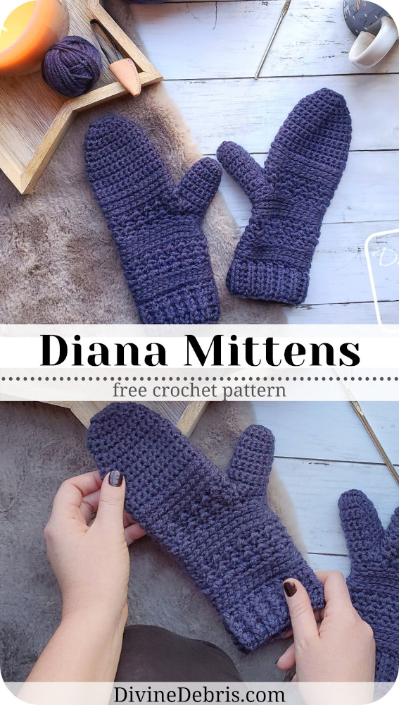 Are you looking for easy and cozy mittens for winter? Look no further than the simple Diana Mittens in this free crochet pattern.