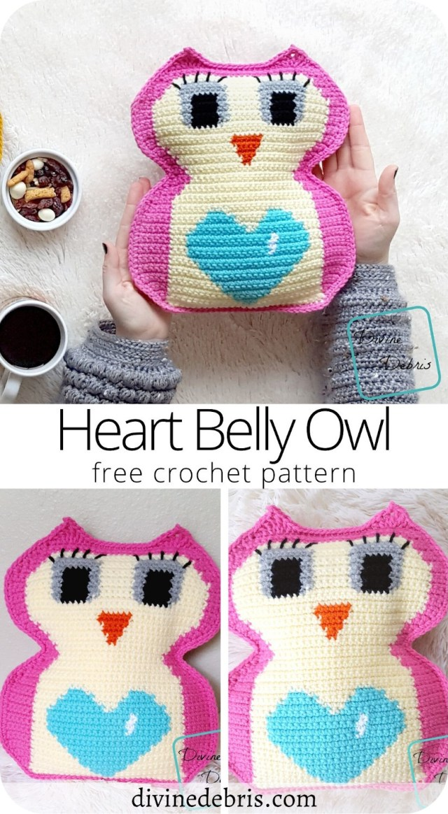 Learn to make the fun Valentine's Day themed Heart Belly Owl Amigurumi free crochet pattern by DivineDebris.com