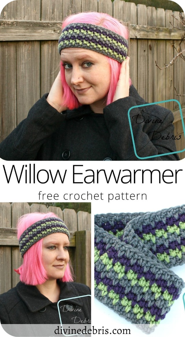 Make this warm and fun headband from a simple combination of stitches, the Willow Earwarmer free crochet pattern by Divine Debris.