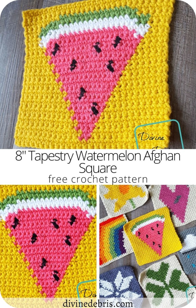 """Learn to make the 8"""" Tapestry Watermelon Afghan Square, part of the 2018 free tapestry crochet CAL, free on DivineDebris.com"""