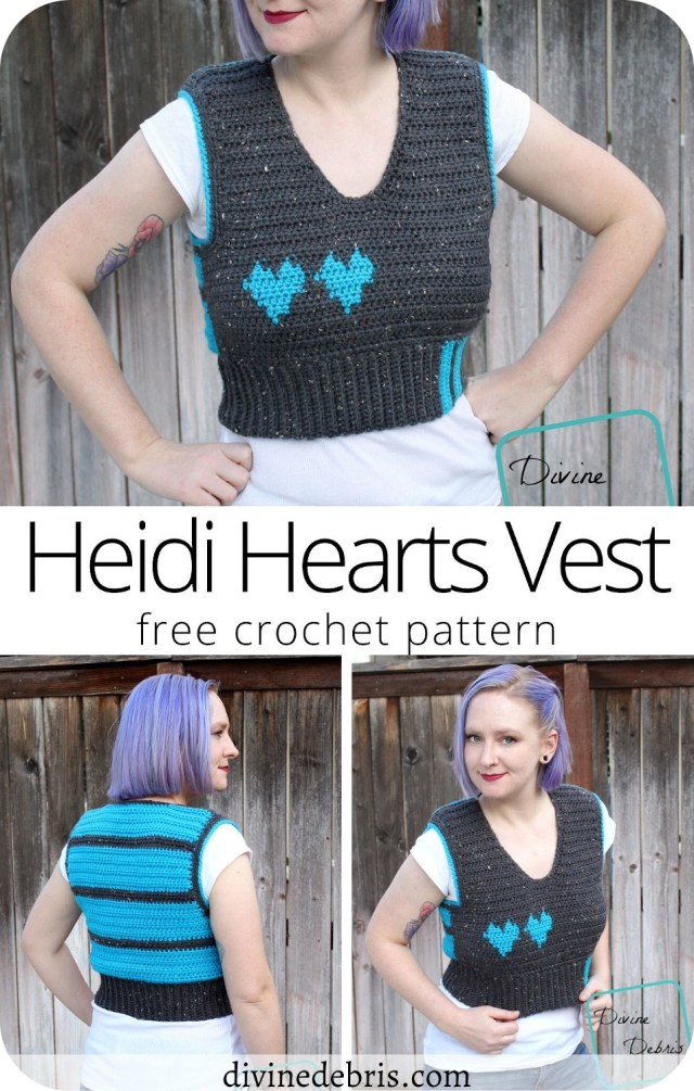 Learn to make a fun and exciting vest with a lovely heart detail, the Heidi Hearts Vest, from a free crochet pattern on DivineDebris.com